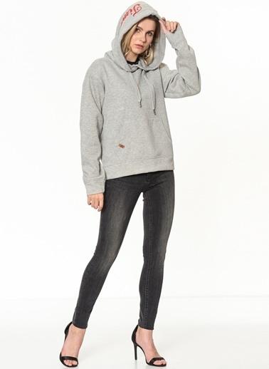 Only Kapüşonlu Sweatshirt Gri